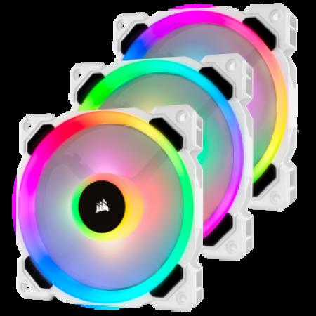 Corsair LL120 RGB 120mm Dual Light Loop White RGB LED PWM Fan - Triple Pack with Lighting Node PRO