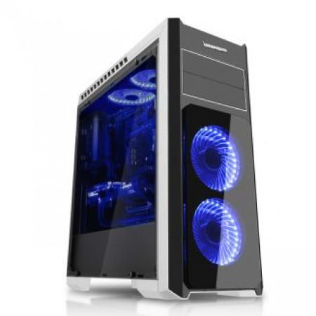 """מארז IPPON THUNDER  צבע שחור/לבן עם 5 מאוררי לד כחולים 120מ""""מ"""